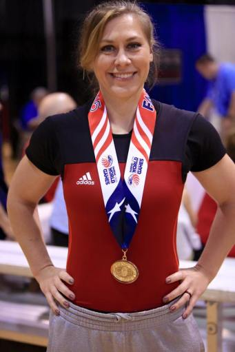 Congratulations to Tech. Holly Melendez on winning the gold in Women's 30-39 year old 67.5 kg or less bench press event.  (Photo provided by Brent Schnupp)