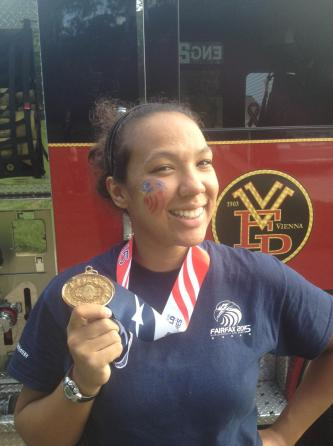 Congratulations to Firefighter Monica Harding on winning a  gold medal in Women's 18+ Stair Climb (full gear).