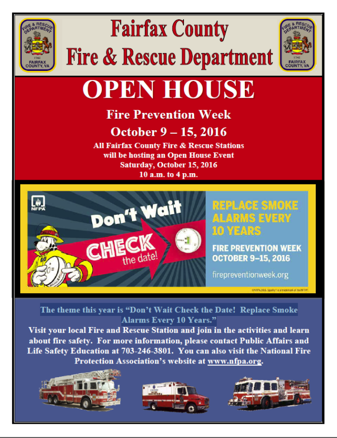 Fire Station Open House. Fire Prevention Week: Dont't at check the date, replace smoke alarms every 10 years