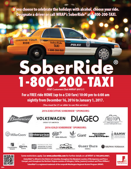 This Holiday Season Don't Drink And Drive! Get A Free Ride Home!
