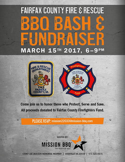 Graphic highlighting Fundraiser for Fairfax Firefighters Fund. 6-9 pm at Misson BBQ,