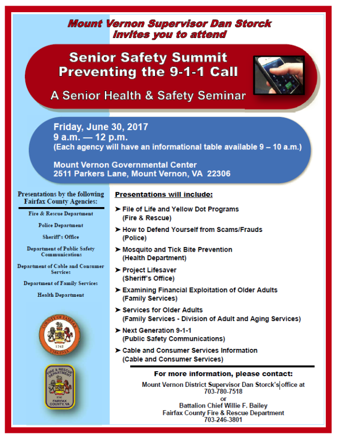 Mount Vernon District Senior Safety Summit